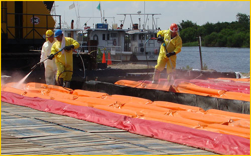 spill containment berms for onsite decontamination emergency events